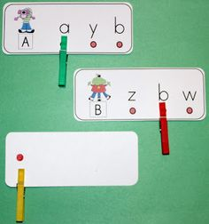 Capital letters and lower case letter studied in a matching exercise. There is control of error when you look at the back of the card.