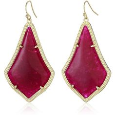 Kendra Scott  Gold and Maroon Jade Alexandra Drop Earrings ($65) ❤ liked on Polyvore featuring jewelry, earrings, gold fish hook earrings, jade jewelry, drop earrings, gold jewellery and earring jewelry