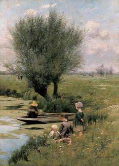 Émile Claus (1849 – 1924) - au bord de la rivière