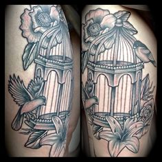 Pretty bird cage tattoo!