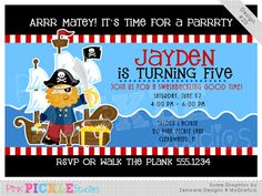 Pirate Ship Personalized Party Invitation-personalized invitation, photo card, photo invitation, digital, party invitation, birthday, shower, announcement, printable, print, diy,