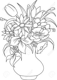 Adult Coloring Pages - Summer Flower Coloring Pages Elegant Bouquet Of Summer Flowers In A White Vase Vector and Summer Coloring Pages, Flower Coloring Pages, Colouring Pages, Adult Coloring Pages, Coloring Books, White Vases, Silver Vases, Summer Flowers, Colorful Flowers