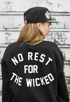 This black sweatshirt features a vinyl slogan back print and embroidered faux leather broken bottle detailing.