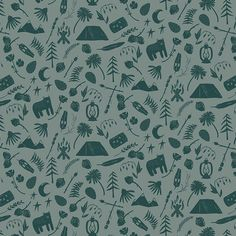 Camping Stories in Spruce | CAP-C-9001 | Campsite by AGF In-House Studio for Art Gallery Fabrics