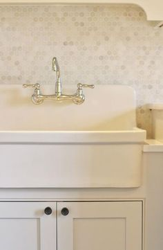 Laundry Room with Marble Hex Tile Backsplash, Transitional, Laundry Room