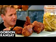 Buttermilk Fried Chicken with Sweet Pickled Celery | Gordon Ramsay - YouTube--This recipe makes a good candidate for a vegan makeover