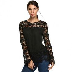 Women Fashion Sexy Chiffon Splicing Lace Crochet Casual Loose Top Blouse