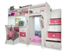Girls Loft Beds for Teens | Berg Furniture Play and Study Loft Bed with Computer Desk: