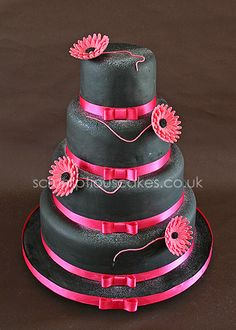 Black and Pink Wedding Cake - California Weddings At:  http://www.FresnoWeddings.Net/