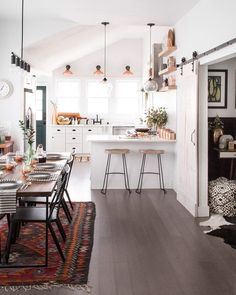 Rug under dining room table