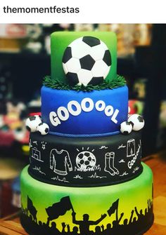 Soccer Cupcakes, Soccer Cake, Soccer Party, Sports Party, 11th Birthday, Birthday Cake, Cake Cookies, Cupcake Cakes, How To Stack Cakes