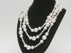 Muschelkernperlen Halskette, weiß - 6; 12; 16 mm, ca. 150 cm / 9544
