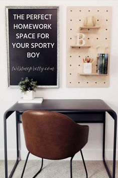 Sporty Boys Bedroom Reveal- how to decorate a homework space for a boys room. Shabby Chic Bedroom Furniture, Ikea Furniture, Furniture Projects, Old Kitchen Tables, Window Seat Cushions, Affordable Furniture, Diy Desk, Cool Chairs, Office Decor