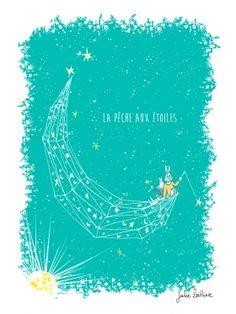 Arts Graphiques | Julie Zeitline | La pêche aux étoiles - bleu | Tirage d'art en série limitée sur L'oeil ouvert