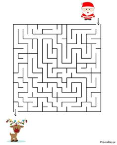 Maze with a christmas theme (free printable) Christmas Colors, Christmas Themes, Christmas Holidays, Bag Toppers, Themes Free, Christmas Coloring Pages, Colouring Pages, Maze, Toddler Activities