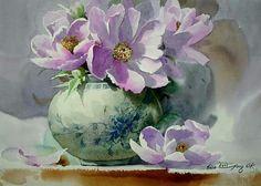 Watercolor flowers vase pink