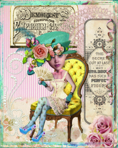The Secret Is Out (why Mrs Brown has such a perfect figure). Created for Alpha Stamps March Vintage Corset theme.  Credits: collage sheets, Alpha Stamps Decorum and Secret is Out.  Woman, Xquizart Why So blue digital kit.  Chair, Itkupilli Funderful.  Roses, fan, doily and backgrounds: Butterfly Design's Vintage Roses.