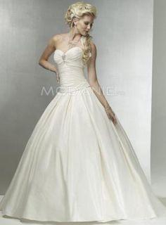 Robe de mariée princesse A-ligne satin sans bretelle longueur au sol [#M1408066558] - modanie