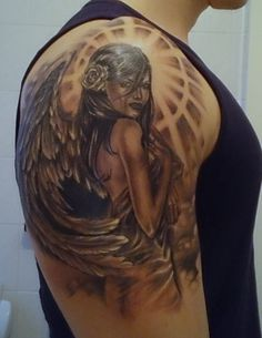 Engel Wolf Tattoos, Skull Tattoos, Body Art Tattoos, Girl Tattoos, Sleeve Tattoos, Tattoos For Women, Tatoos, Angel Warrior Tattoo, Tattoo Avant Bras
