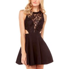 Black Crochet Lace Cutout Skater Dress (37 CAD) ❤ liked on Polyvore featuring dresses, robe, black, cutout dress, cut out dress, lacy dress, crochet overlay dress and macrame dress