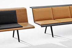 Arper Zinta. Een modulaire zitbank gekenmerkt door de vloeiende lijnen en warme materialen. http://www.deprojectinrichter.com/arper/