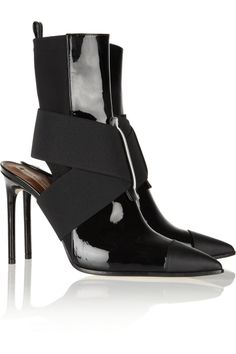 Reed Krakoff | Cutout leather and neoprene ankle boots | NET-A-PORTER.COM $477