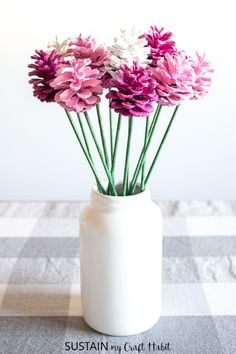 pine cone roses / how to make a pine cone rose bouquet / DIY Valentines decor / #prettyinpink #pinecone #cbvalentinesday
