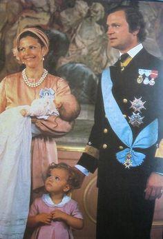 Crown Princess Victoria + baptisms: Prince Carl Philip of Sweden, 1979 Princess Victoria Of Sweden, Crown Princess Victoria, Prinz Carl Philip, Queen Of Sweden, Swedish Royalty, Princess Sophia, Family Presents, Queen Silvia, Royal Babies