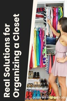 Space saving tips and tricks to re organize your closet in a more efficient way. #closets #organize #storage #housekeeping Make A Closet, Tiny Closet, Small Closets, Closet Space, Clothing Storage, Neat And Tidy, Queen Bees, Closet Organization, Saving Tips