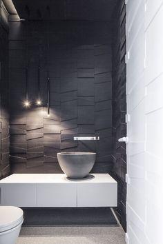 Outside toilet decor - White & grey powder room Layers of White by Pitsou Kedem Architect Bad Inspiration, Bathroom Inspiration, Minimalist Bathroom, Minimalist Decor, Minimalist Kitchen, Minimalist Interior, Modern Minimalist, Minimalist Living, Pitsou Kedem