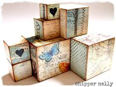 Altered wooden blocks by Chipper Nelly