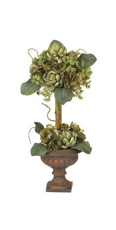 192 best home interior silk arrangement ideas images on pinterest in artichoke topiary silk flower arrangement in green mightylinksfo