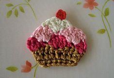 Cupcake aplique de crochê!