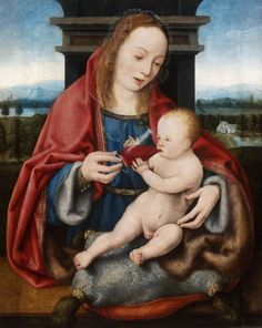 Cleve, Joos van (485-1540/41). The Virgin with the Infant Christ Drinking Wine, ca. 1520, oil on oak, 52.9×40.7 cm. Museum of Fine Arts, Budapest.