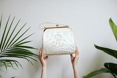 Monogram R Purse  Embroidered Cream Satin by tomorrowisforever