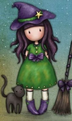 Halloween Artwork, Halloween Painting, Cartoon Girl Drawing, Girl Cartoon, Pretty Art, Cute Art, Cute Images, Cute Pictures, Cute Girl Illustration