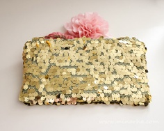 Gold Sequin Clutch, Evening zipper Clutch, Party Bag Purse. $55.00, via Etsy.