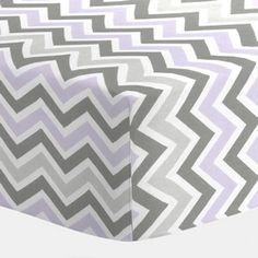 Lilac and Slate Gray Chevron Crib Bedding | Baby Bedding for Girls |Purple and Gray Baby Girl Crib Collection | Carousel Designs