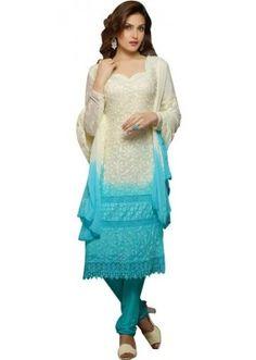 Designer White & Sky Blue Karachi Work Straight Fit Party Wear Salwar Suit - 1474 ( SOS-141 )