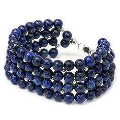 Beaded Dark Blue Bracelet Gemstone Bracelet Rhodium by MYNESS