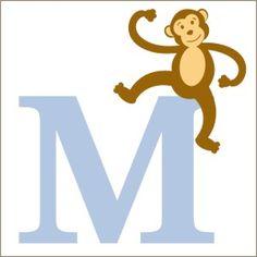 Monkey Monogram Wall Decal | Vinyl Stencil-monkeys, monogram, initial, personalized decal, sticker, stencil