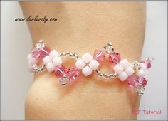 Beaded Bracelet Tutorial Pattern - Swarovski Pink Wavy Bracelet (BB080) - Beading Jewelry PDF Tutorial (Digital Download)