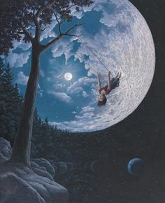 Canadian artist Robert Gonsalves explores childlike stories of wonder through his surrealist paintings, capturing peeks of one's internal daydreams through dual scene optical illusions. The works express both the real and the imaginative, painting Fantasy Kunst, Fantasy Art, Robert Gonsalves, Ciel Nocturne, Surrealism Painting, Modern Surrealism, Colossal Art, Magic Realism, Beautiful Moon