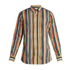 Paul Smith Artist Stripe-print cotton shirt (10,050 INR) ❤ liked on Polyvore featuring men's fashion, men's clothing, men's shirts, men's casual shirts, multi, paul smith mens shirt, mens casual button down shirts, mens striped button down shirts, mens casual button up shirts and mens striped shirt