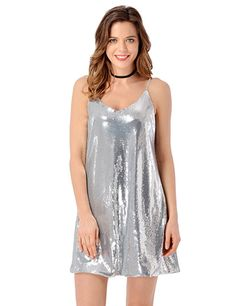 6da80f1a546 Grapent Women s Sexy Silver Sequins V Neck Mini Slip Loose Club Party Dress  Size Large (