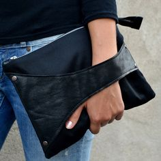 I so love this.........Leather Detail Cross Body Bag / Clutch in Black Fabric