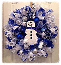 Snowman Blue Winter Deco Mesh Wreath/Christmas Wreath/Blue and Silver Christmas Wreath/Snowman Wreath by CKDazzlingDesign on Etsy https://www.etsy.com/listing/198923287/snowman-blue-winter-deco-mesh