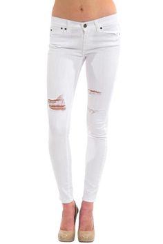 Mid Rise Destructed Skinny Jean - White Audrey by Pistola Denim