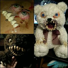A few days ago, I started work on my very own teddy bear inspired by the one from Krampus. He turned out great and received a lot of good responses. I decided to create a line of similar products for my shop, and Snowball became the first :) Creepy Toys, Scary Dolls, Creepy Cute, Halloween Projects, Halloween Crafts, Halloween Decorations, Halloween Stuff, Halloween Ideas, Scary Teddy Bear