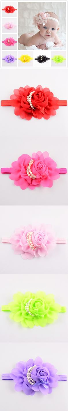 20pcs/lot 20colors Beautiful Rose Flower Baby Girls Headband With Pearl Infant Newborn Children Hair Ornaments Accessories $21.99